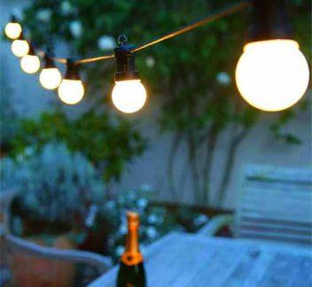 Black Outdoor String Light With Bulbs 20pc Black Outdoor String Light With Bulbs 20pc, Festoon